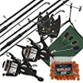 2x Carp Seeker Fishing Rods + 2x Max 40 2BB Reels + 2x VX1 Bite Alarms + Session Rod Pod + Quickfish Mat + 4pc Tools & Boilies by Lineaeffe / NGT