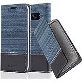 Cadorabo - Etui Housse pour Samsung Galaxy S7 EDGE - Coque Case Cover Bumper Portefeuille en Design Tissue-Similicuir avec Stand Horizontale, Fentes pour Cartes et Fermeture Magnétique Invisible en BLEU-FONCÉ-NOIR