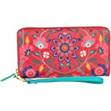 Chumbak Women's Synthetic Floral Long Wallet (Red)