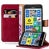 Cadorabo Hülle für Nokia Lumia 625 - Hülle in Wein ROT – Handyhülle im Luxury Design mit Kartenfach und Standfunktion - Case Cover Schutzhülle Etui Tasche Book