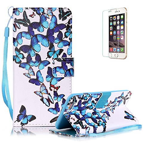 """Für iPhone 6 Plus/6S Plus 5.5"""" Gurt Lederhülle Schutzhülle,Für iPhone 6 Plus/6S Plus 5.5"""" Seil Lanyard Full Body Schutz Tasche Case,Funyye Stilvoll Mode [Bunt Bedruckt] Flip Wallet Case Slim PU Leder  Blaue Schmetterlinge"""