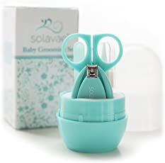 Solavae Newborn, Baby, Infant and Toddler Grooming Kit with Scissors - The Best Unique Baby Shower Gift for Girls and Boys (Teal)