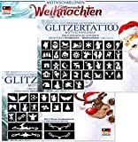 50 unterschiedliche Glitzer-Tattoo-Schablonen für Weihnachten & Advent / Glitter Tattoo - Motive: Engel, Weihnachtsmann, Schneemann, Christkind, Temporäre Tattoos