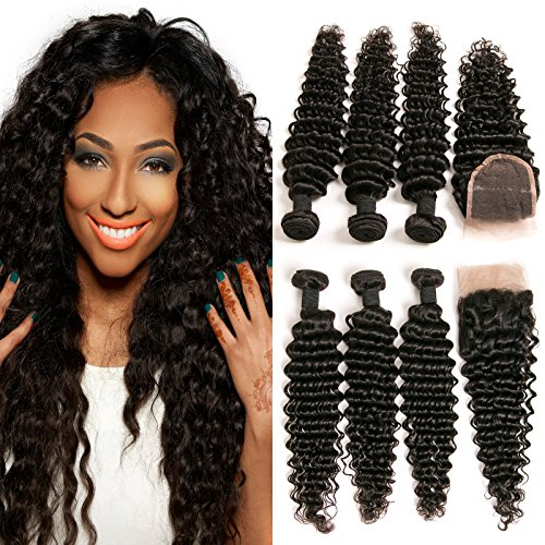 DAIMER 3 Bundles and Closure Brazilian Hair Curly Hair Weave Bundles with...