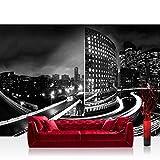Fototapete 254x184 cm PREMIUM Wand Foto Tapete Wand Bild Papiertapete - Skylines Tapete Häuser Skyline Nacht Lightning New York schwarz - weiß - no. 613