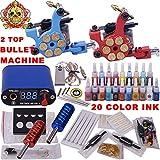 Tattoo maschine set komplett profi 2 Tätowiermaschine 1 tattoo netzteil 20 Tätowierungsnadel 20 Tattoo-Tinte