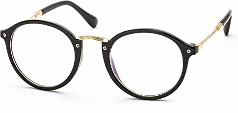 Stacle Unisex UV Protected Anti-Reflective Round Spectacle Sunglasses, 48mm (Transparent, ST8008Black.Gold.White)