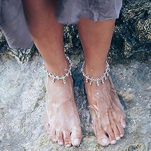 Aukmla, cavigliera a catena stile tibetano con margherite e pendenti