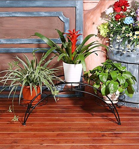 Arched Iron Art Plant Shelf Européen - Style Indoor And Outdoor Flower Stand Balcon Floor Flower Pots Shelf Multi-Color Optionnel (Couleur : Noir)