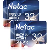 Netac 32GB Micro SD Memory Card 2 PCs, MicroSDHC Card UHS-I, 90/10MB/s(R/W), 600X, C10, U1, A1, V10, Full HD, TF Card for Camera, Smartphone, Security System, Drone, Dash Cam, Gopro, Tablet