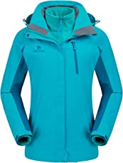 CAMEL CROWN Damen Outdoor 3-in-1 Skijacke, Zweiteilige Winterjacke mit Fleecefutter, Winddicht, Wasserdicht und Hält Warm
