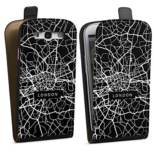DeinDesign Tasche kompatibel mit Samsung Galaxy S3 Flip Case Hülle London Karte Stadt -
