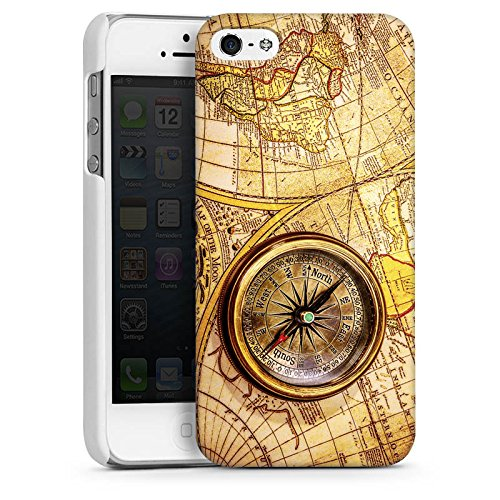 Apple iPhone SE Housse Outdoor Étui militaire Coque Boussole Carte du monde Carte CasDur blanc