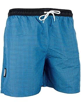 GUGGEN MOUNTAIN Herren Badeshorts Beachshorts Boardshorts Badehose kariert *Blau Lila*
