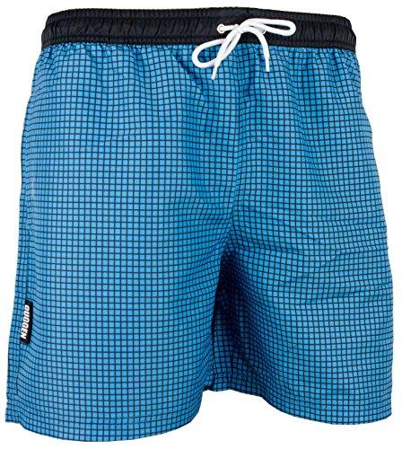 GUGGEN Mountain Herren Badeshorts Beachshorts Boardshorts Badehose Schwimmhose Männer kariert Farbe Blau L