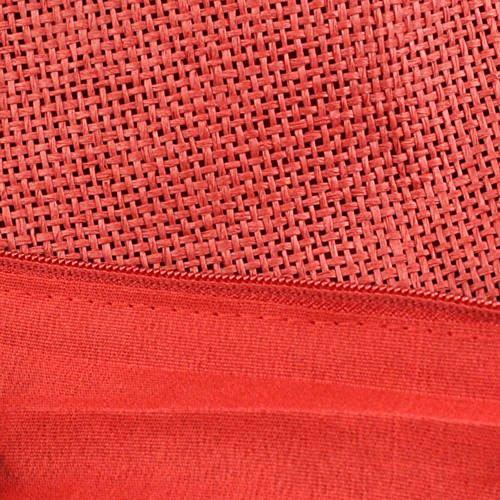 GSPStyle Damen Stroh Schultertasche Tragbar mit Reißverschluss Als Öffnung Rot