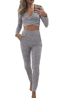 3ec850d117 SWEETFISH Damen Hausanzug Jogginganzug Jumpsuit Langarm Pullover Sportanzug  Trainingsanzug