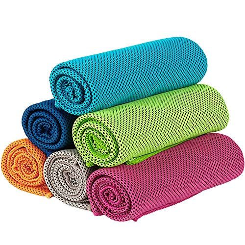 Cikuso Asciugamano di Raffreddamento da 6 Pezzi Asciugamano da Sport Morbido e Traspirante Asciugamano Assorbente Asciugamani ad Asciugatura Rapida per Yoga Sport Allenamento Fitness