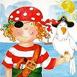 PPD Pirate Girl Servietten, 20 Stück, Tischservietten, Tissue, Bunt, 33 x 33 cm, 1331519