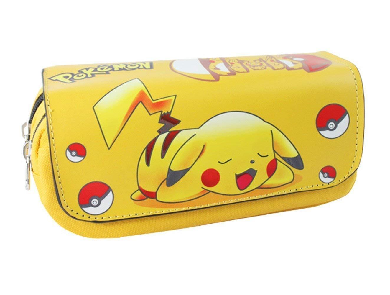 Estuche de Lápices Anime Pokemon Casual Chic Pikachu Estuche de Lápices Capa Múltiple Bolso de Dibujos Animados Estudiante Estuche de Lápices de Gran Capacidad por Estuche