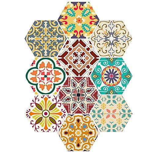 Bulary 10PCS Selbstklebende Fliese Kunst Boden Wand Aufkleber Aufkleber DIY Boden Wandfliese Aufkleber Fliesen Aufkleber Für Küche Bad Home Peel & Stick Selbstklebende Splashback - Home Peel