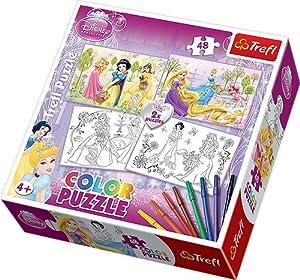 TREFL Puzzles para colorear (2 x 48 piezas), diseño de princesas Disney