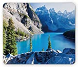 Nature Mouse Pad, Moraine Lake Banff National Park Canada Mountains Pines Valley of The Ten Peaks