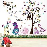 Walplus WS5031/ DF5099 - Pacchetto adesivi da parete, motivo: animali felici con albero + prato con farfalle