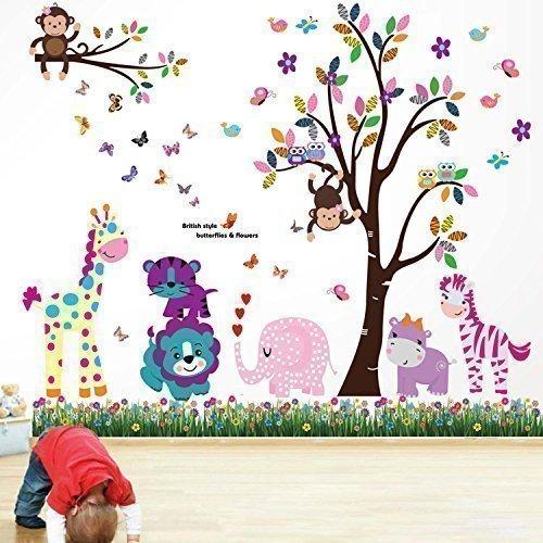 walplus-ws5031-df5099-pacchetto-adesivi-da-parete-motivo-animali-felici-con-albero-prato-con-farfall