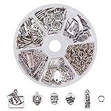 Pandahall elite Kit joyas Charms Corazón Colgante charms tibetano de plata con letras, Charms aprox 130pcs (Total, idee para crear regalo de San Valentín, anillos abiertos aprox. 200pcs.