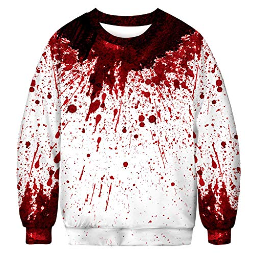 ZHANSANFM Halloween Kostüme Unisex Langarm Pullover 3D Blutfleck Druck Lustiger Stil Sweatshirt Bunte Gruselig Kapuzenpulli Sweatshirt Weihnachten Kapuzenjacke Party Shirt (2XL, - Gruselig Lustige Kostüm