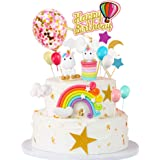 MMTX Decorazione Torta Unicorno Festa Compleanno Unicorno Cake Topper Arcobaleno Palloncino Buon Compleanno Banner Decorazion
