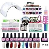Saint-Acior Kit 10 colori smalto semipermanente completo kit manicure professionale gel unghie 36W bianca lampada UV led a doppia sorgente