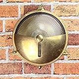 Außenwandleuchte rund Echt-Messing Antik rostfrei massiv E27 Riffelglas Ø21cm Wandlampe Haus Terrasse Balkon