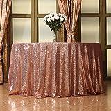 Eterna Belleza Funda para mesa mantel de lentejuelas boda banquete fiesta, oro rosa, 50R