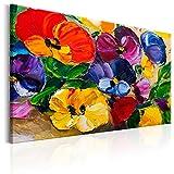 murando - Bilder Blumen 120x80 cm - Leinwandbild - 1 Teilig - Kunstdruck - modern - Wandbilder XXL - Wanddekoration - Design - Wand Bild - Blumen wie gemalt bunt rot gelb blau violett grün Natur b-B-0226-b-a