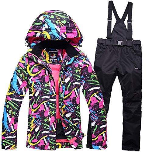 GJBXP Weibliche Skianzug Snowboard Anzug Jacke + Hose Wasserdicht Winddicht Atmungsaktive Kleidung Winter Thermische Kleidung Frauen S