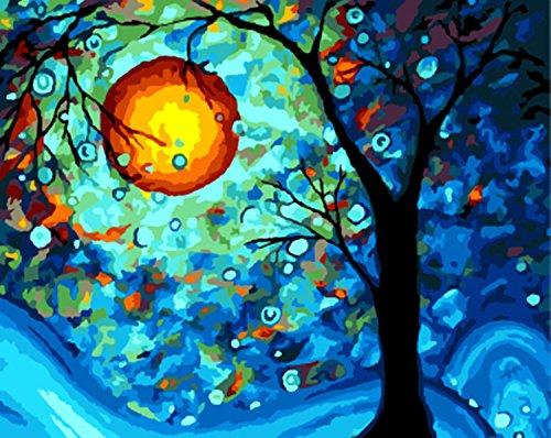YXQSED [Holzrahmen] DIY Ölgemälde-Farbe durch Zahl-Installationssatz - Traumbaum durch Van Gogh 16x20 Zoll