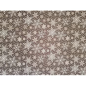 Black Mandala Style Snowflake Christmas 100/% Cotton Fabric sold by the metre