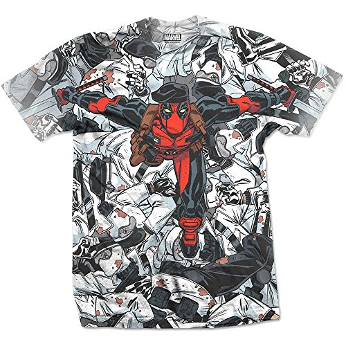 Rockoff Trade Men's Deadpool Leap Sublimation T-Shirt