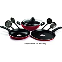Pigeon by Stovekraft Mio Aluminium Gift Set, Red (8 Pieces)