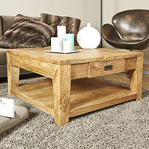 Table Basse carrée en Bois de Teck recyclé avec tiroir 80