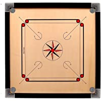 Ellenshire Wooden Round Pocket Carrom Board with Coins, Striker and Carrom Powder (26 x 26 Inches) Medium