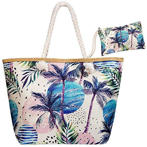 Meersee Große Strandtasche mit Reißverschluss und Innentasche Wasserdicht Badetasche Einkaufstasche Shopper für Damen,Coco