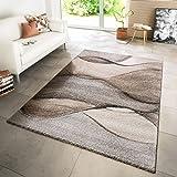 TT Home Teppich Modern Wohnzimmer Webteppich Modern Style Wellen Meliert Grau Beige Creme, Größe:160x230 cm