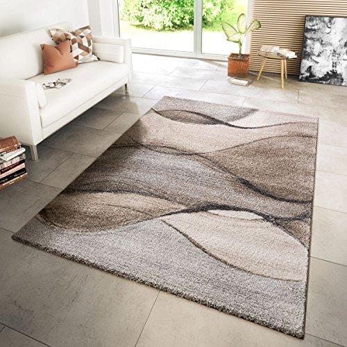 TT Home Tappeto Moderno Per Soggiorno Tappeto Tessuto Moderno Stile Onde Mélange Grigio Beige Crema, Größe:160x230 cm