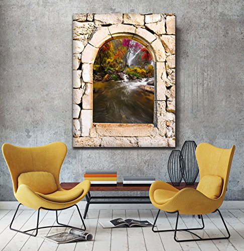 Rushing fiume 3d vista da una pietra arco finestra Stampa su tela Wall Art, XL, (Archi Wall Art)