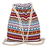 Sac à dos Drawstring,Fami Vintage sac d'école géométrique Bohême cordon ...