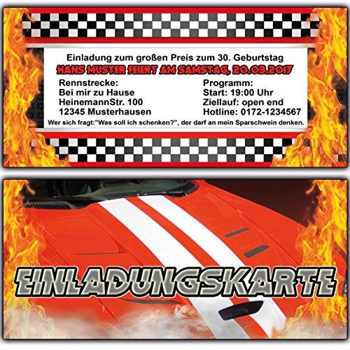 Einladungskarten zum Geburtstag (30 Stück) Auto Rennfahrer Formel Rennauto Einladung Motocross