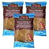 3er Pack TRS Scharfes Curry Pulver aus MADRAS [3x 400g] Currypulver